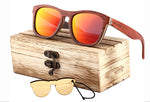 Women Square Wooden Polarized Sunglasses