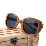 Women Zebra Mirrored Wooden Sunglasses