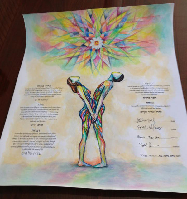 The Making of a Custom Painted Ketubah for Eric and Jessica