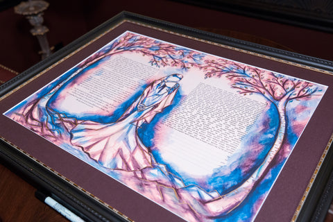 Mystical Forest Ketubah with Custom Color by Anna Abramzon Studio
