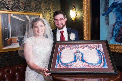 Shelby and Daniel with Mystical Forest Ketubah by Anna Abramzon Studio