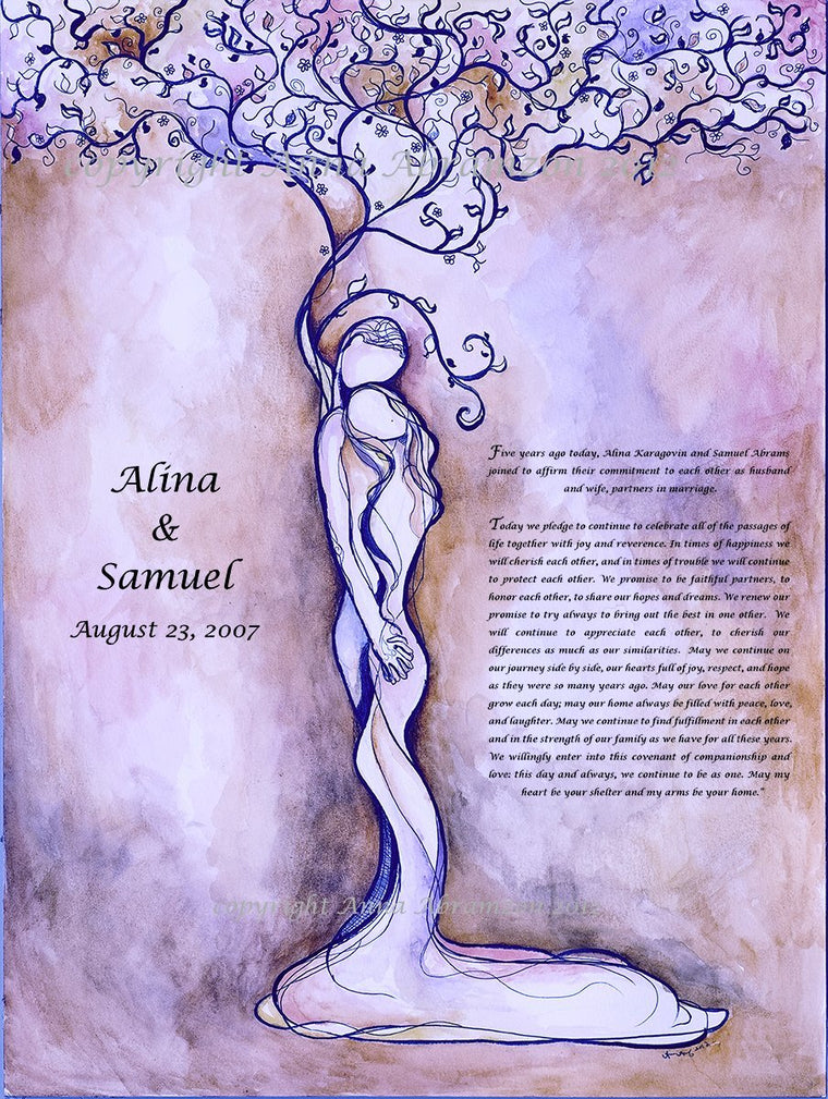 Classic Love Tree Anniversary Ketubah in Royal Violet
