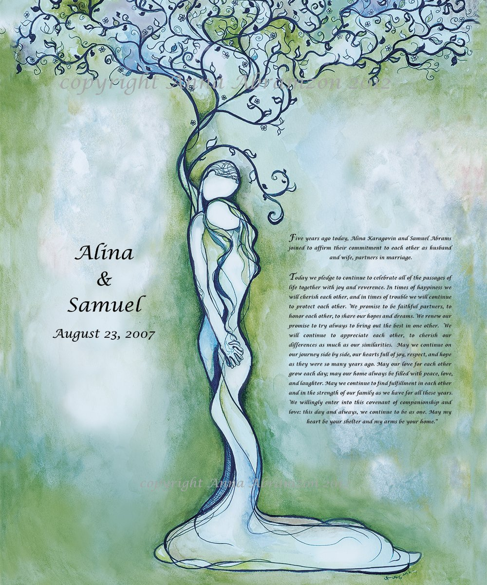 Classic Love Tree Anniversary Ketubah in Turquoise
