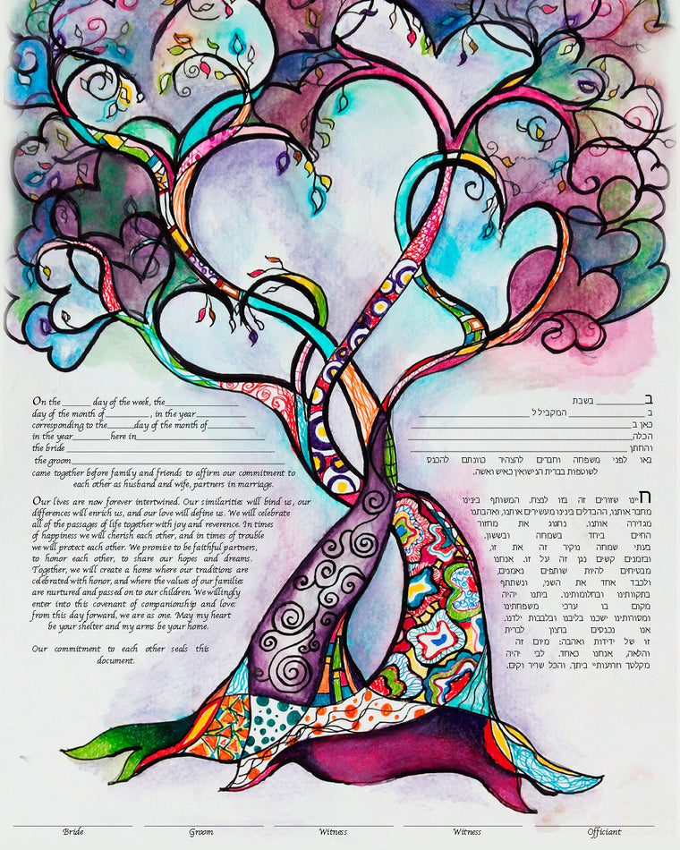 Two Hearts into One Tree Ketubah