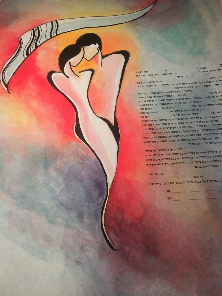 Argentine Tango Ketubah with Hand-Painted Metallic Gold Leaf