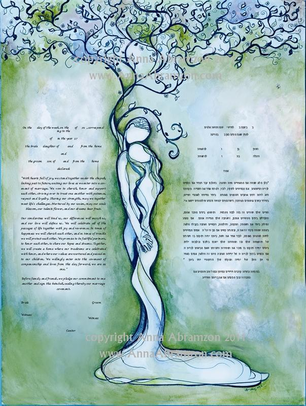 Classic Love Tree Ketubah  in Antique Turquoise