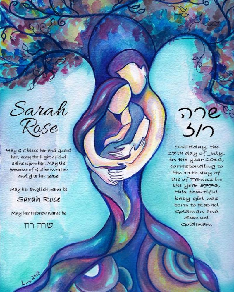 Tree of Life Jewish Baby Naming Certificate in Blue