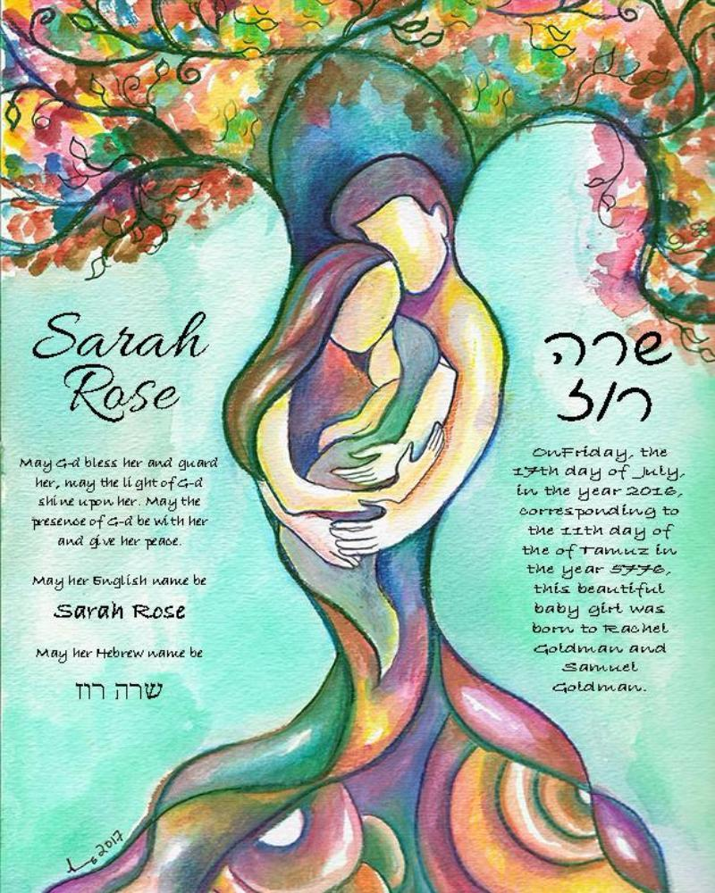 Tree of Life Jewish Baby Naming Certificate in Green