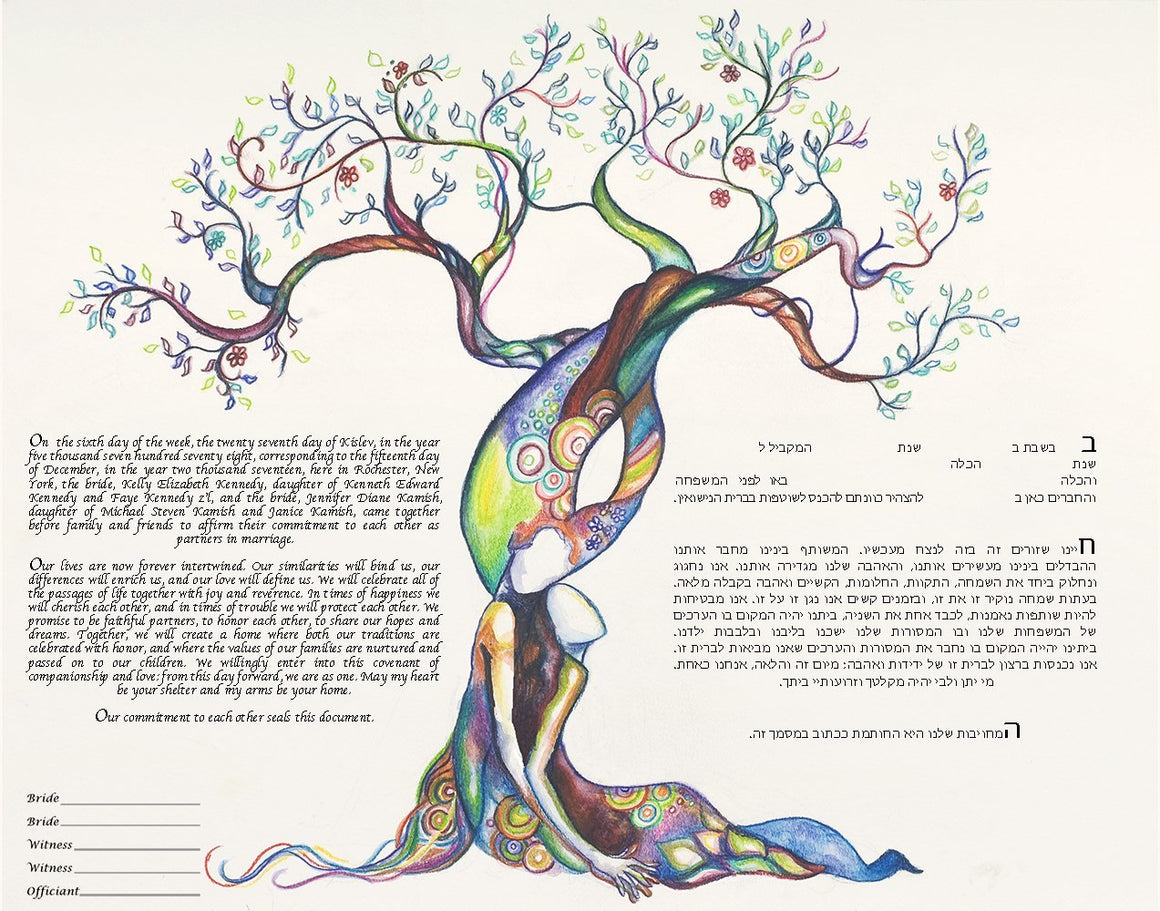Love Tree Ketubah Same Sex Ketubah for Two Brides