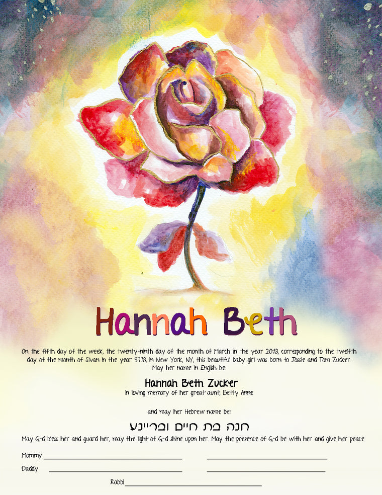 Rose Flower Jewish Baby Naming Certificate