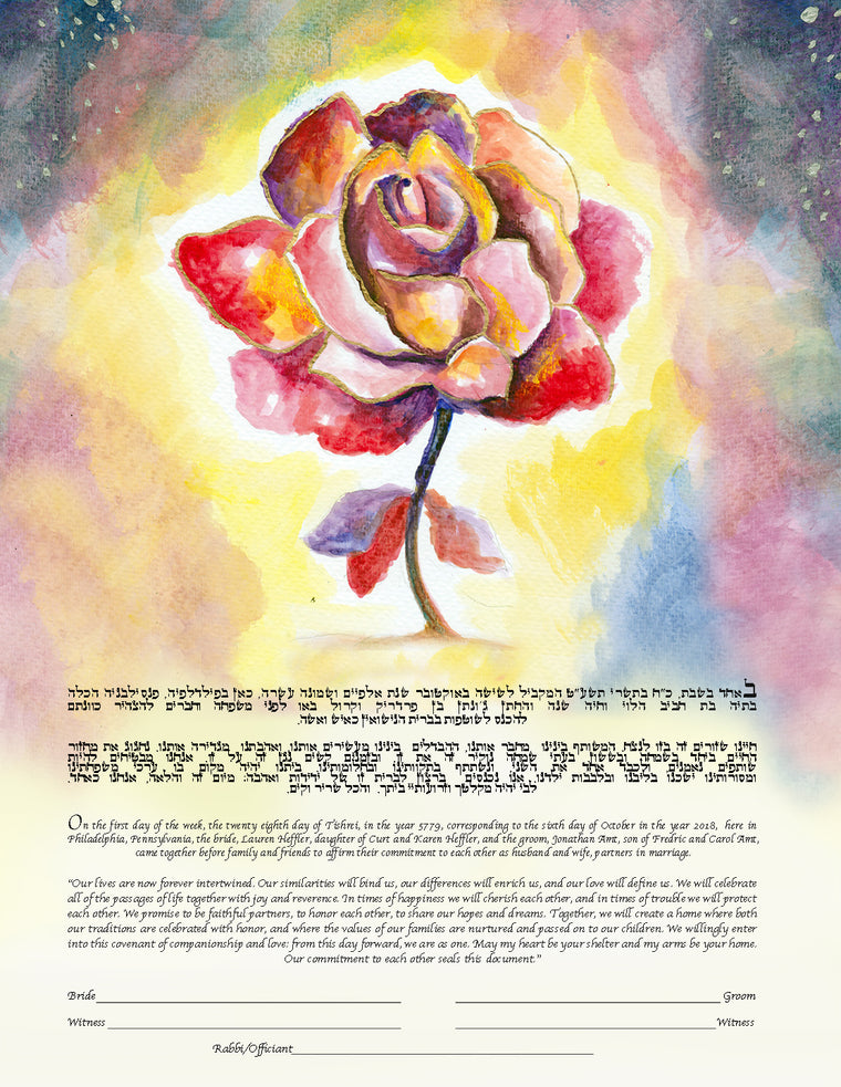 Red Rose Flower Ketubah