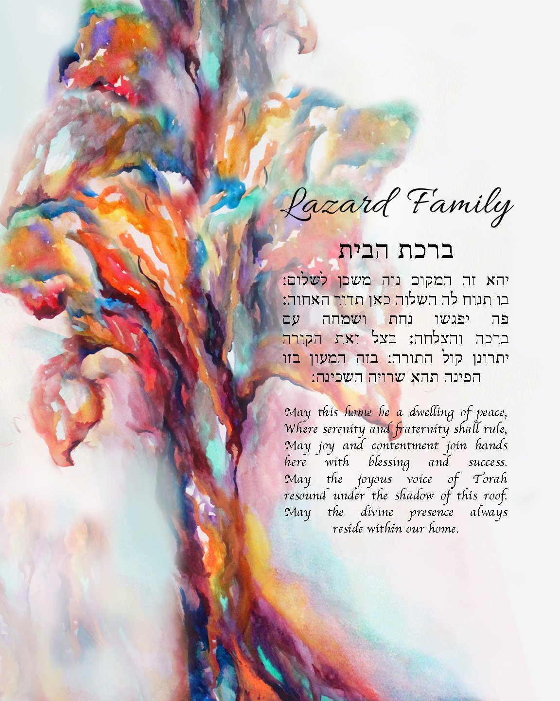 Tree of Life Customized Hebrew and English Jewish Blessing for the Home