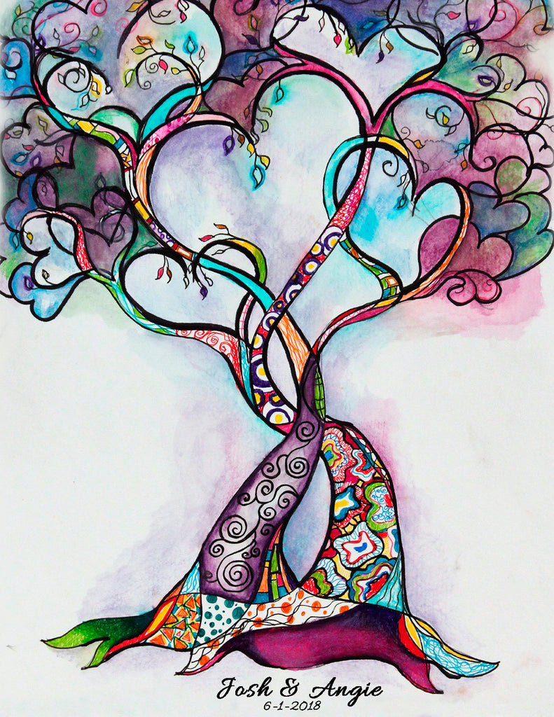 Heart Tree of Life Wedding Guest Book Alternative