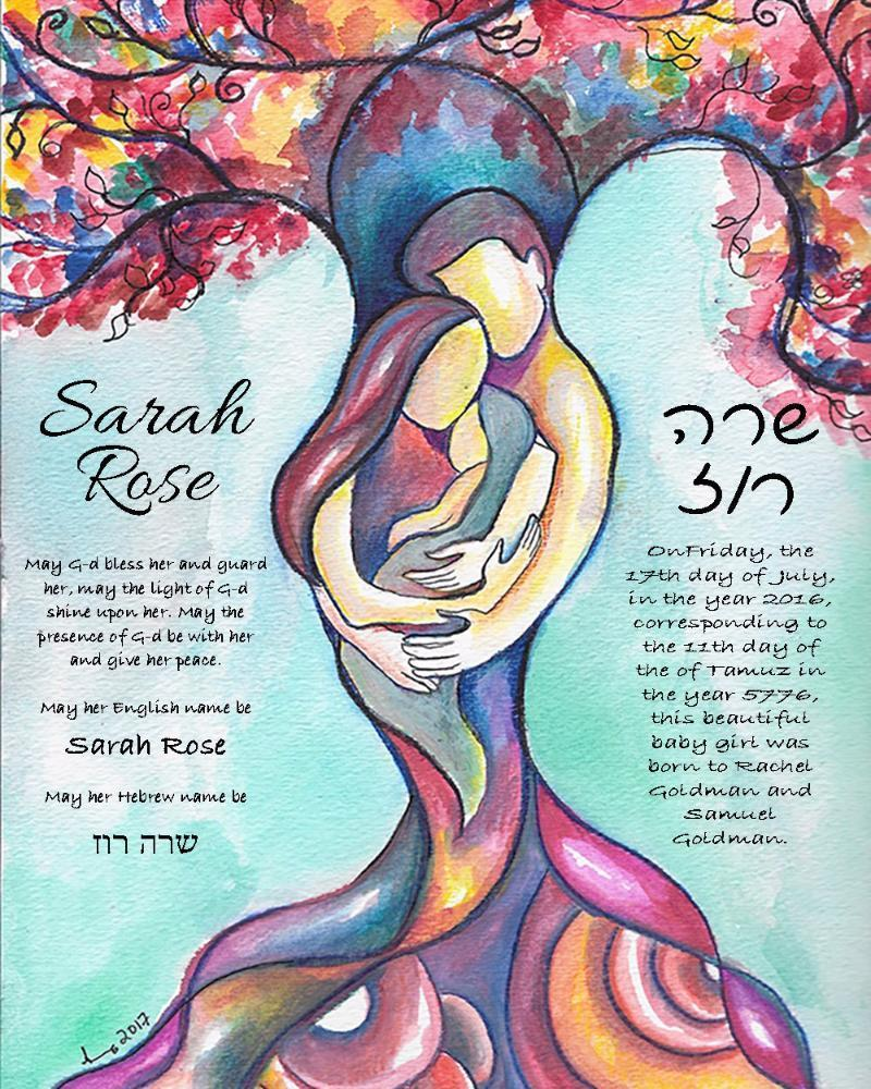Tree of Life Jewish Baby Naming Certificate in Pink