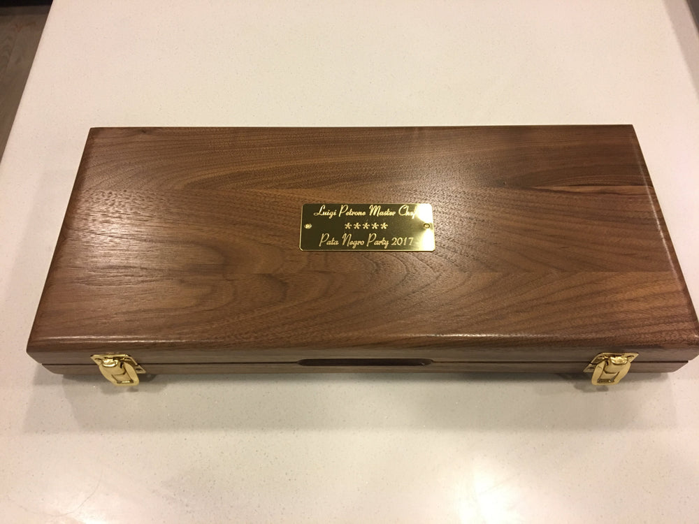 "Personalized Walnut Presentation box with 3"" engraved brass plate"