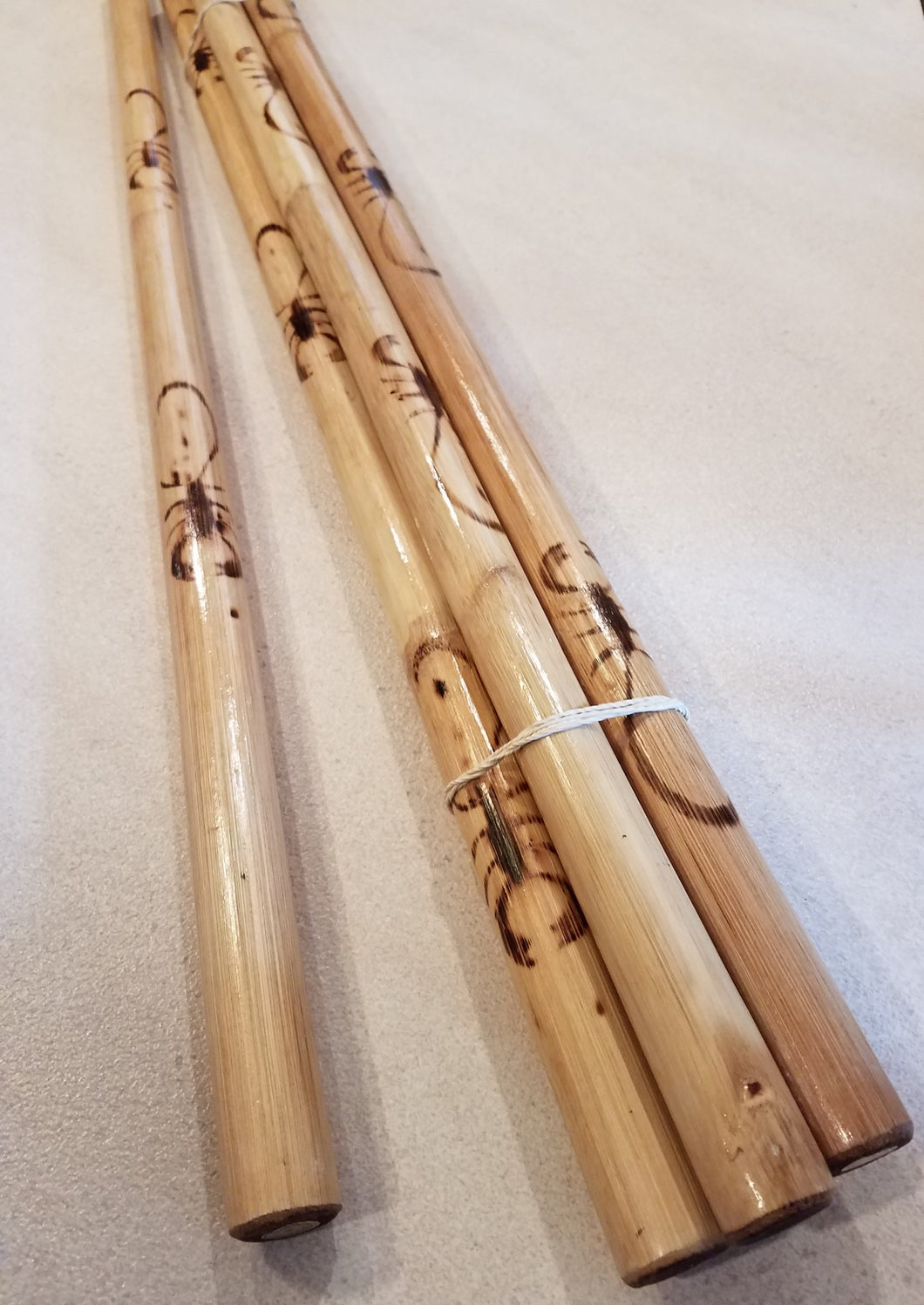 Pair of Rattan Kali Sticks - fire hardened w/ scorpion burn (SHIPS FROM US)
