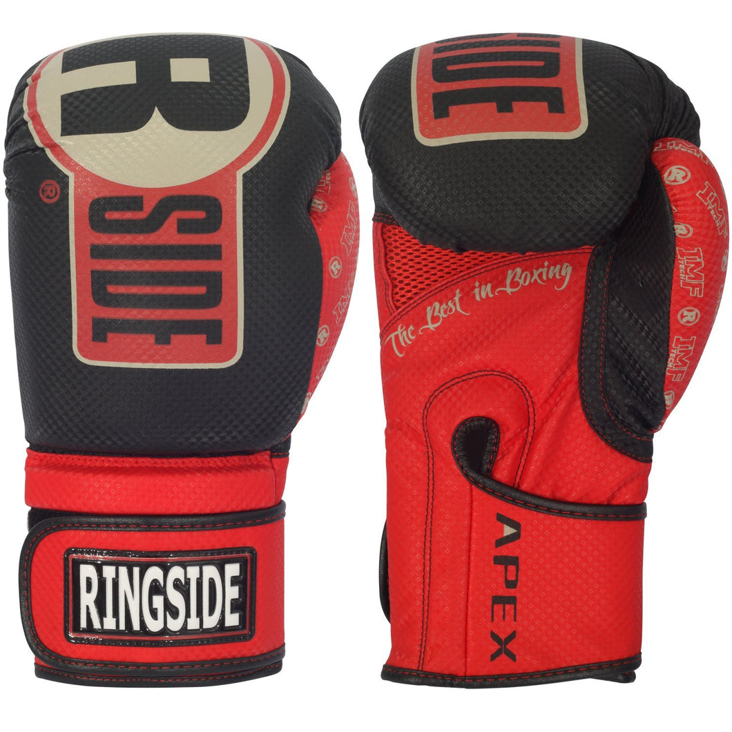 Black/Red Ringside Apex Boxing Kickboxing Muay Thai Training Gloves Gel Sparring Punching Bag Mitts