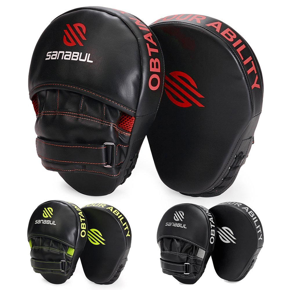 Black/Red Sanabul Essential Curved Boxing MMA Focus Mitts