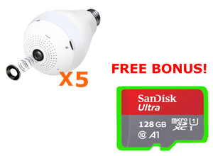 5 SECURITY CAMERAS + FREE 128GB Internal Storage Each!