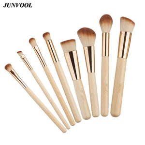 8pcs Bamboo Makeup Brushes Kit