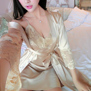 Short Sleeve Silk Satin Lady Pajamas