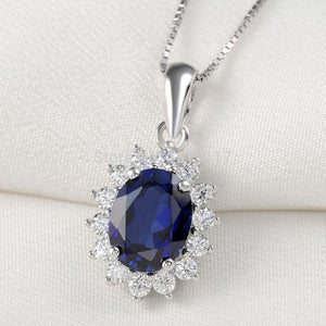 Blue Zirconia 925 Sterling Silver Pendant 18'