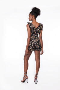Flower Bomb Romper (Black) - Six & Ten Boutique