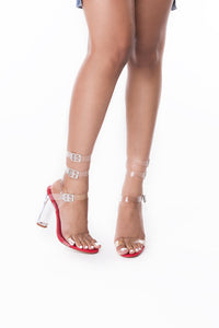Sabrina Transparent Heel ( Red) - Six & Ten Boutique