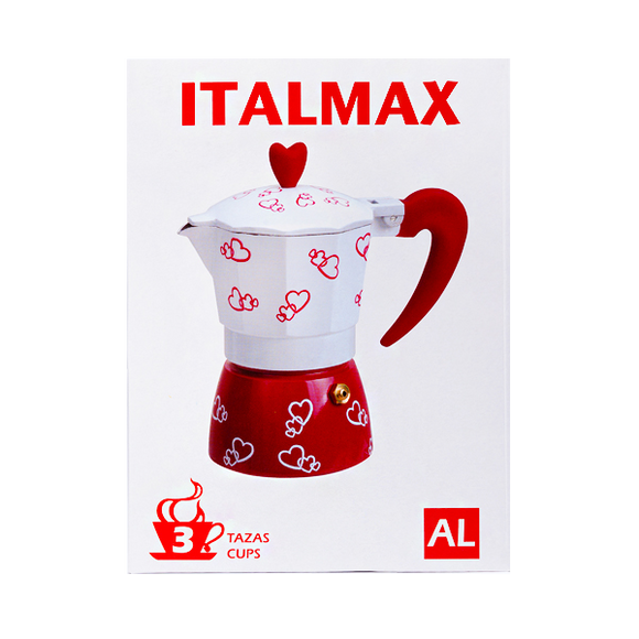 Italmax Heart Deco Alum Espresso Coffee Maker (Available in different cup sizes)