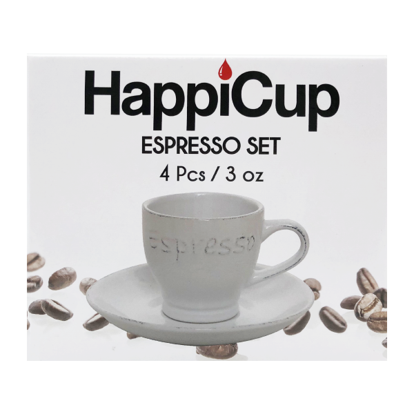 HappiCup Vintage Weathered Espresso Cup and Saucer Set