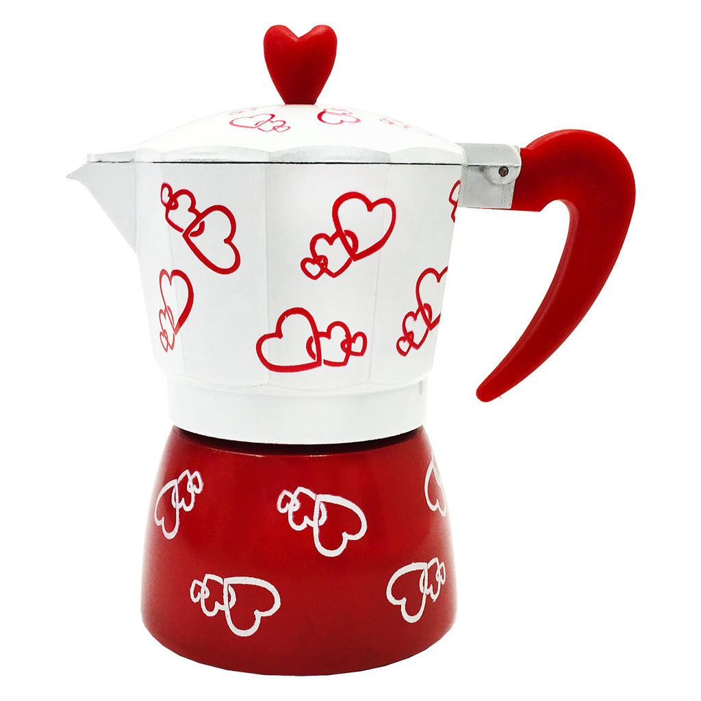 Stove Top Espresso Coffee Maker 3 Cups - Hearts