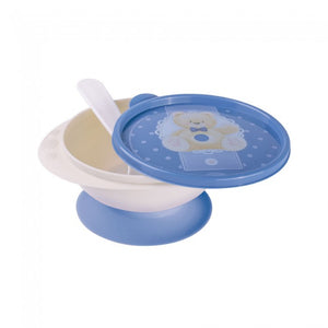 Teddy Bear Small Suction Bowl with Spoon (Blue)