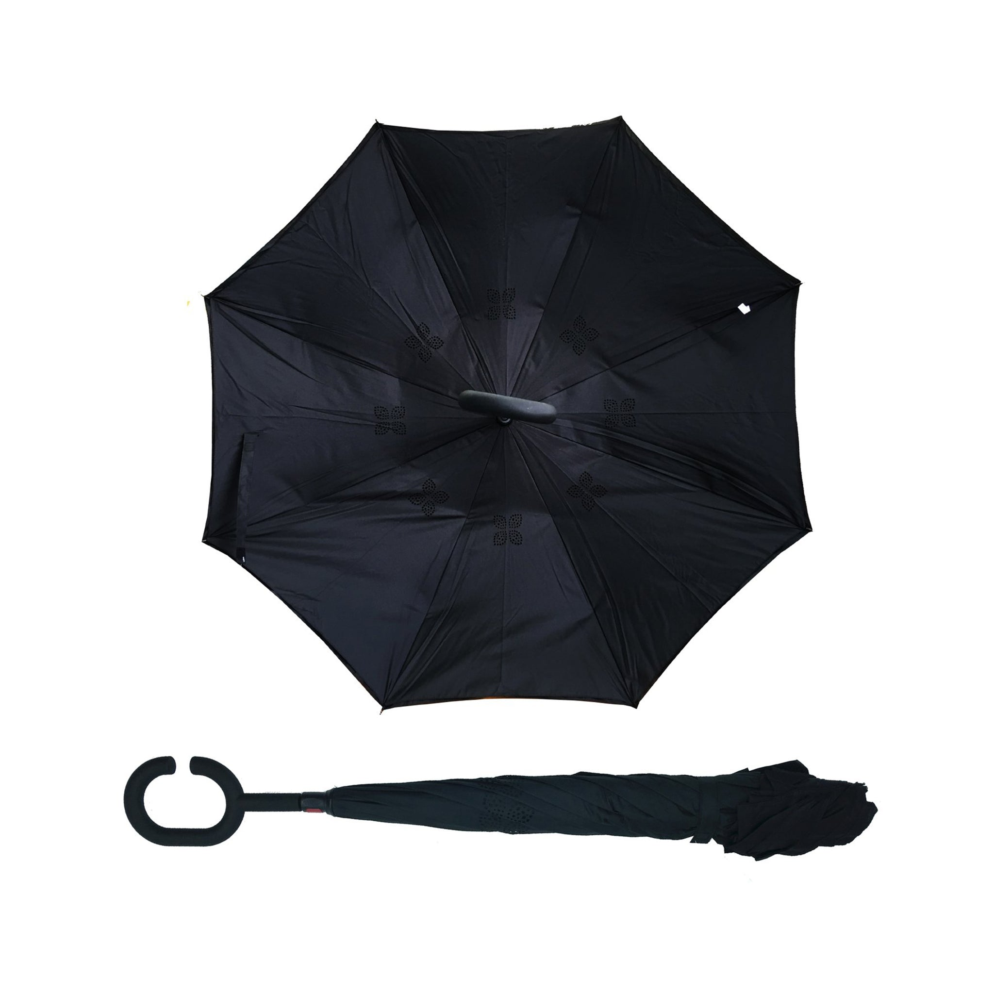 HappiBrella Black Reversible Umbrella