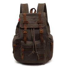 army green vintage canvas leather backpack