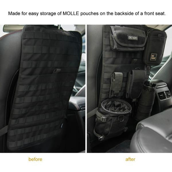 black tactical molle car seat organizer and cover