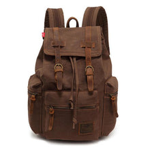 brown coffee vintage canvas leather backpack