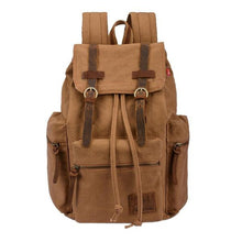 earth tan vintage canvas leather backpack