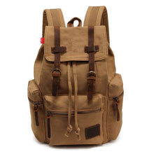 khaki tan vintage canvas leather backpack