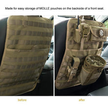 tan tactical molle car seat organizer and cover