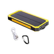 yellow portable solar panel power pack usb rechargeable with LED light