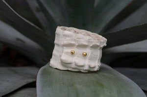 WHITE ALLIGATOR WRAPPED CUFF