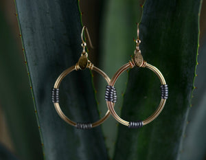 Leather Wrap Hoops - Charcoal