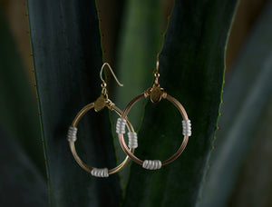 Leather Wrap Hoops - Pearl