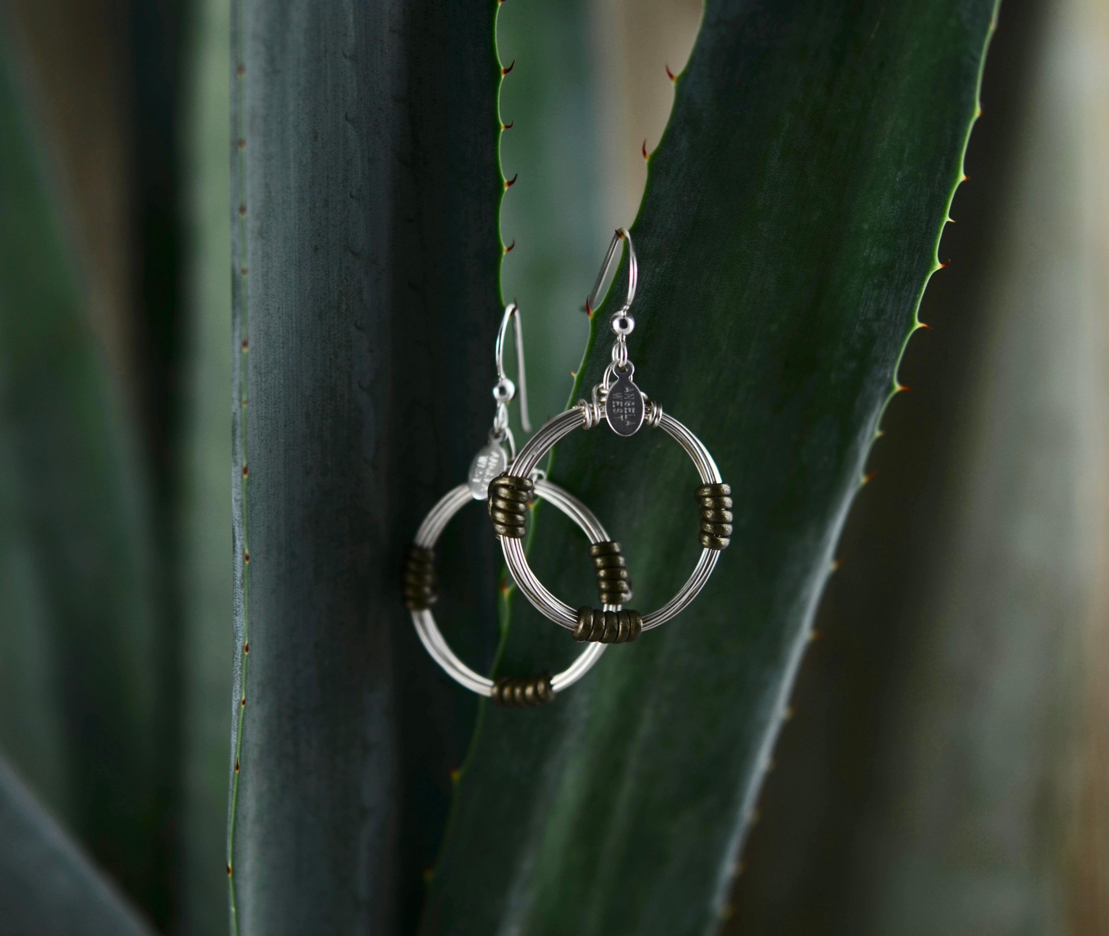 Leather Wrap Hoops - Olive