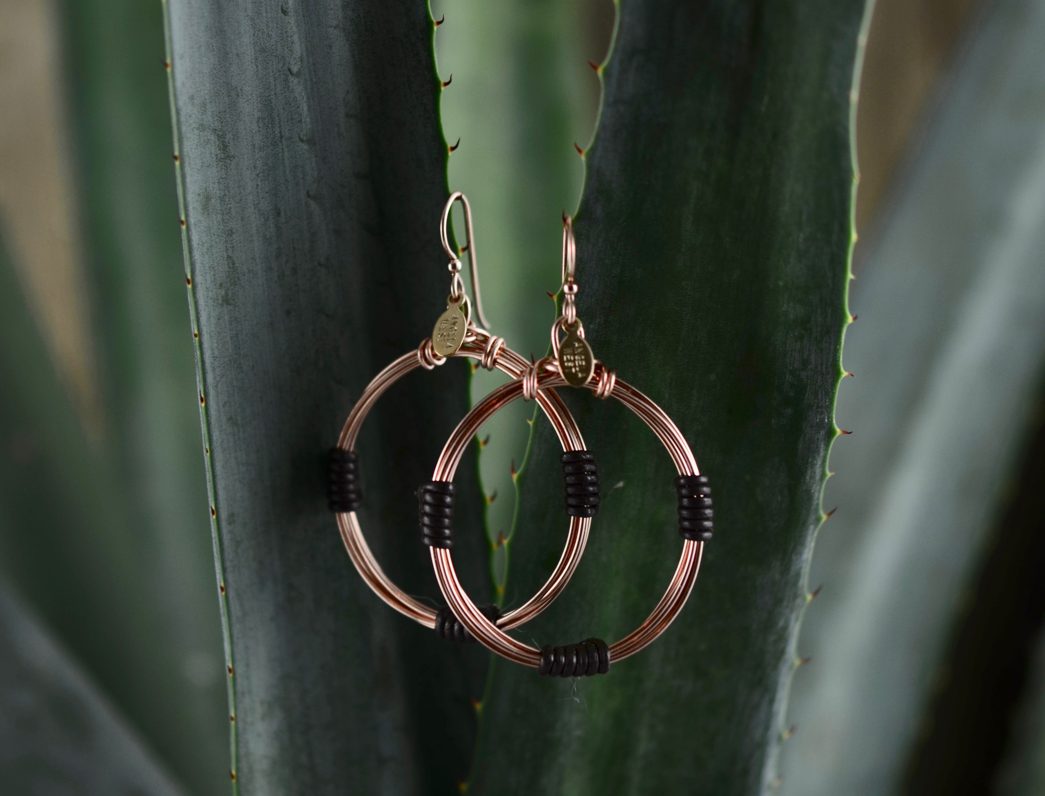 Leather Wrap Hoops - Chocolate