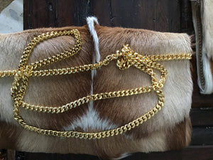 Springbok clutch w long gold chain