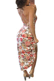 Cross Strap Open Back Sexy Floral Dress