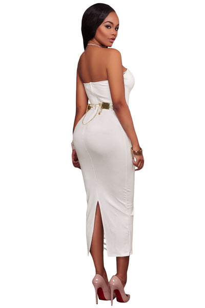 White Sexy Strapless V-neck Side Slits Tube Midi Dress