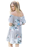 Ruffle Off Shoulder Grey Floral Mini Dress