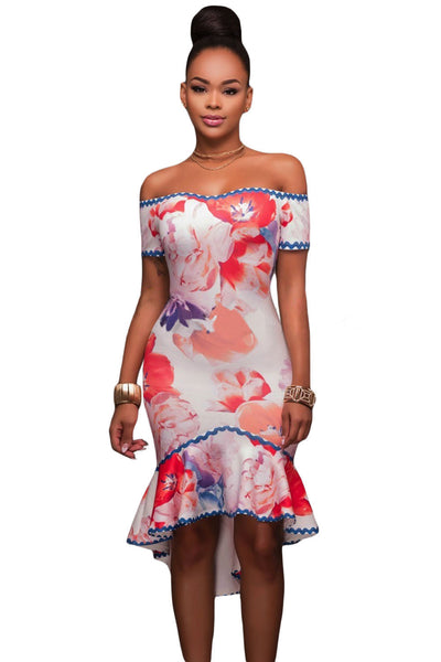 Samba Floral Multi-color Print High-low Dress